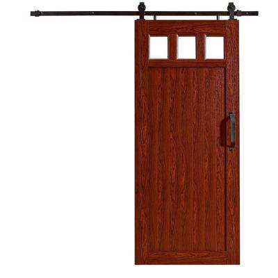 36 in. x 84 in. Millbrooke Cherry 3-Lite Acrylic Pane Ready to Assemble PVC Vinyl Barn Door w/Sliding Door Hardware Kit