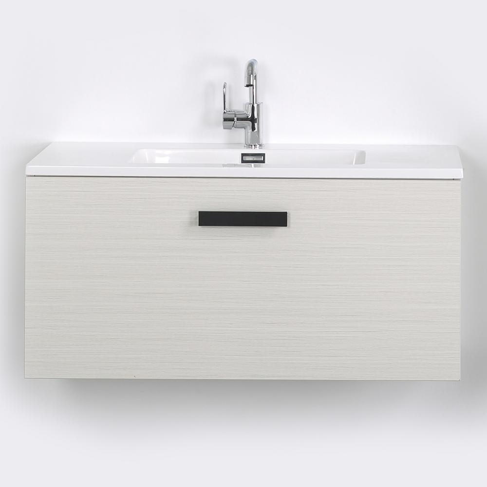 Streamline 39.4 in. W x 18.1 in. H Bath Vanity in Gray with Resin Vanity Top in White with White Basin