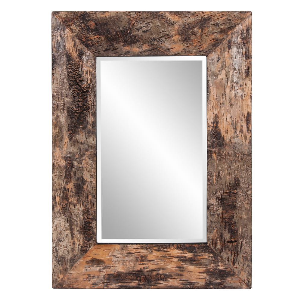 36 in. x 26 in. Birch Bark Framed Mirror