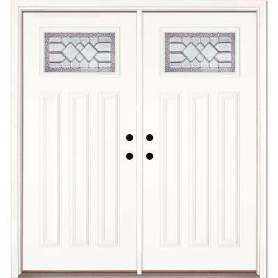 66 in. x 81.625 in. Mission Pointe Zinc Craftsman Unfinished Smooth Right-Hand Fiberglass Double Prehung Front Door