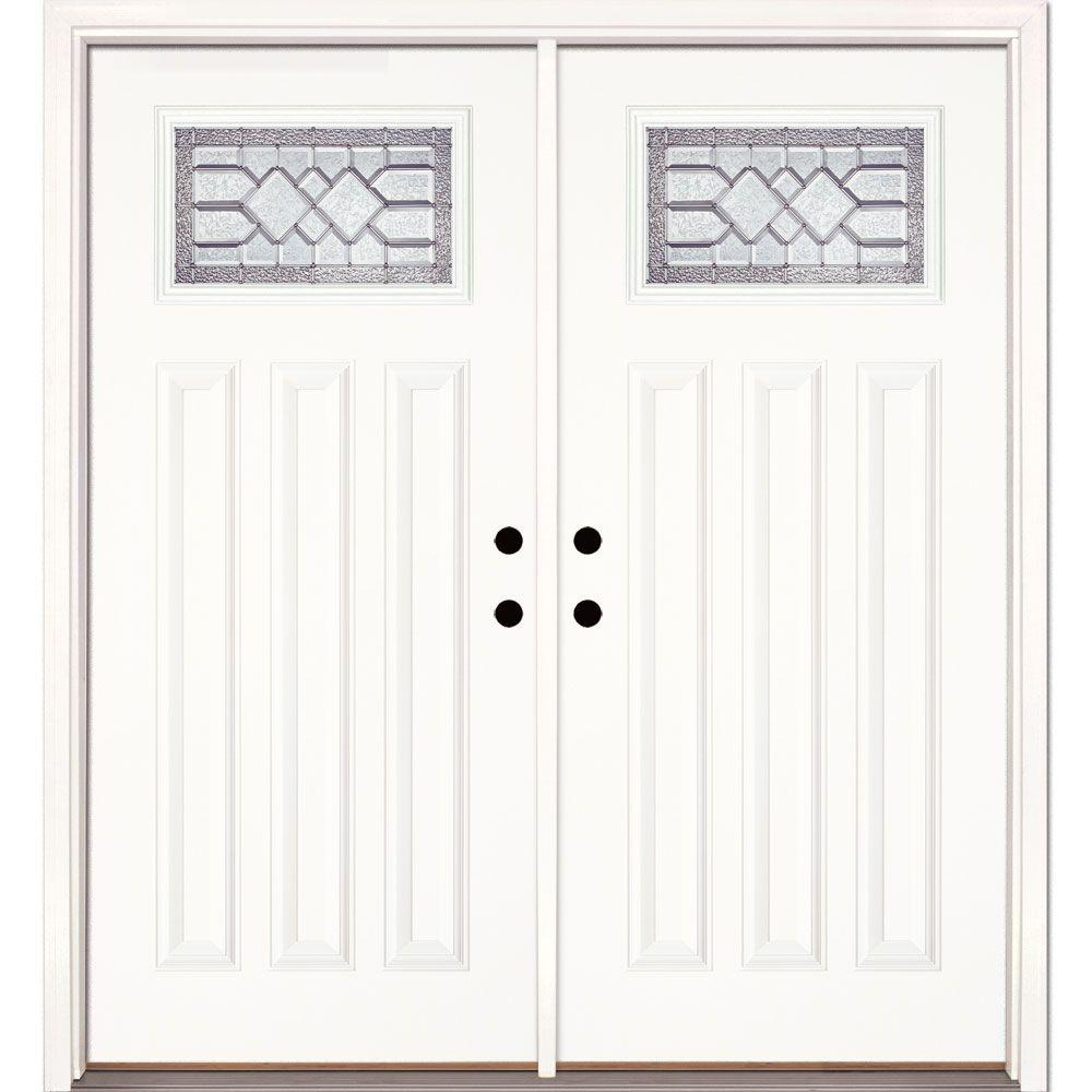 painted double front door. Feather River Doors 74 In. X 81.625 Mission Pointe Zinc Craftsman Unfinished Smooth Painted Double Front Door