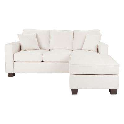 Russell Sectional in Ivory Fabric with 2-Pillows and Coffeeed Legs