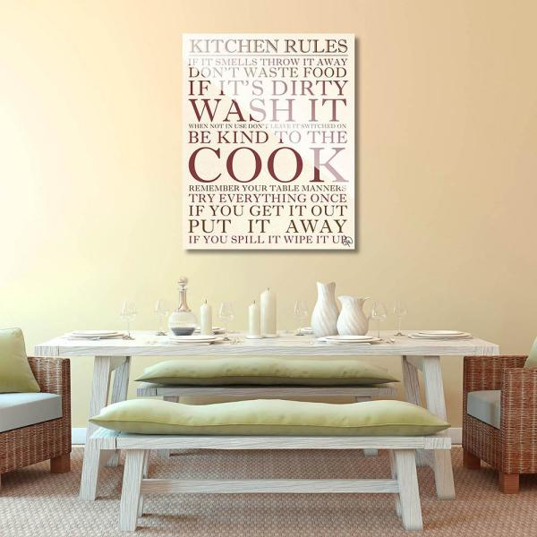20 In X 24 In Kitchen Rules Planked Wood Wall Art Print