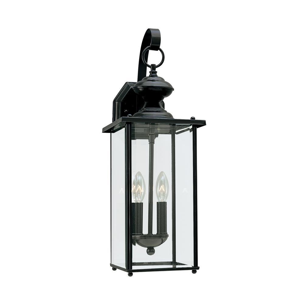 Jamestowne 2-Light Small Black Outdoor Wall Mount Lantern