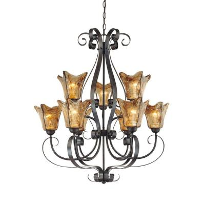9-Light Burnished Gold Chandelier with Umber Swirl Glass