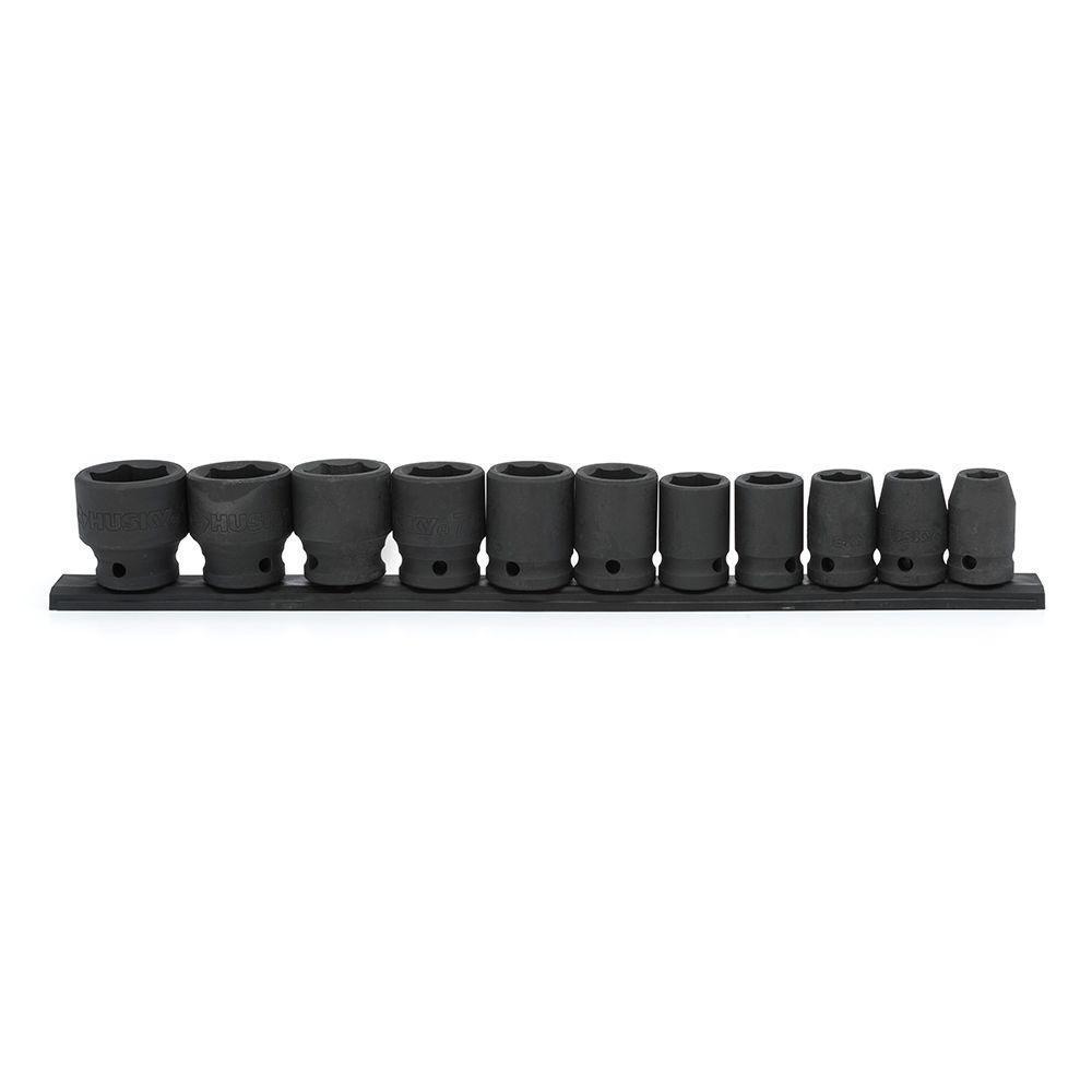 Husky SAE Deep Impact Socket Set 1//2 Inch Drive Mechanic Tool Alloy Steel 13 Pc