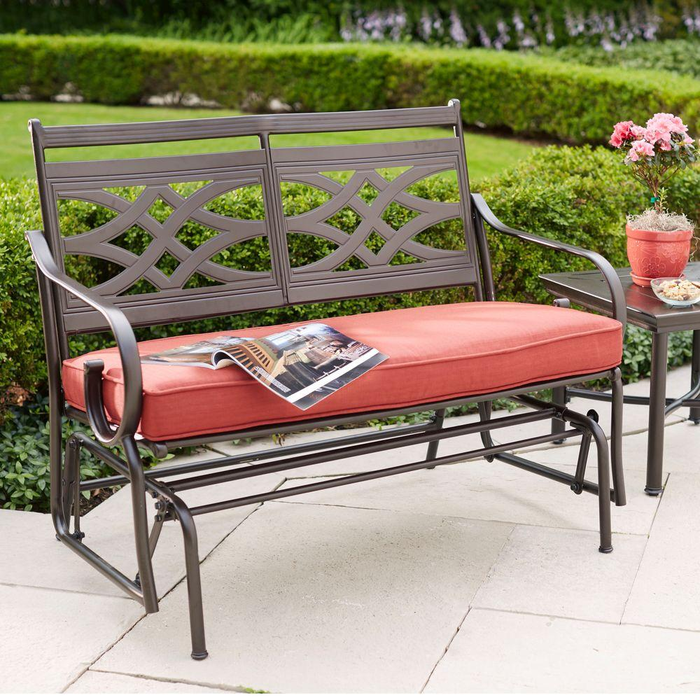 hampton bay Middletown Patio Glider with Chili Cushions