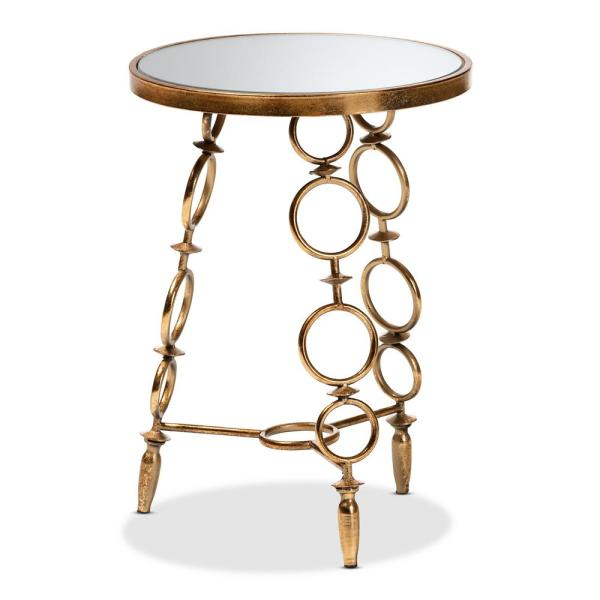 Baxton Studio Inaya Antique Gold Accent Table 151-9068-HD