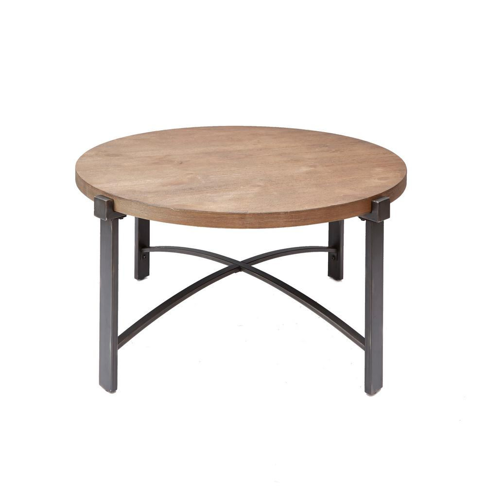 Amazon Linon Titian Rustic Gray Coffee Table Kitchen: Silverwood Lewis Gray And Brown Round Wood Top Coffee