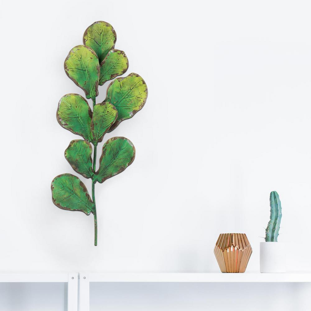 Metal Leaves Wall Decor Part - 19: Green Metal Leaves Branch Wall Decor