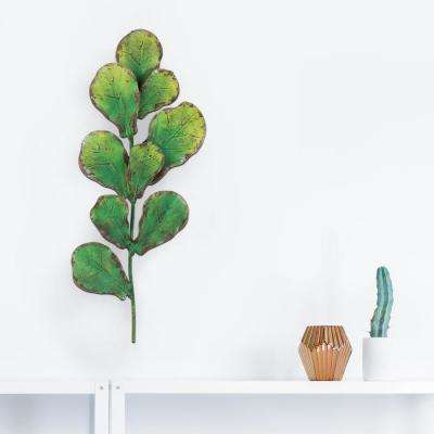 Green Metal Leaves Branch Wall Decor