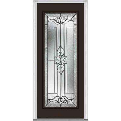 32 in. x 80 in. Cadence Right-Hand Inswing Full Lite Decorative Classic Painted Fiberglass Smooth Prehung Front Door