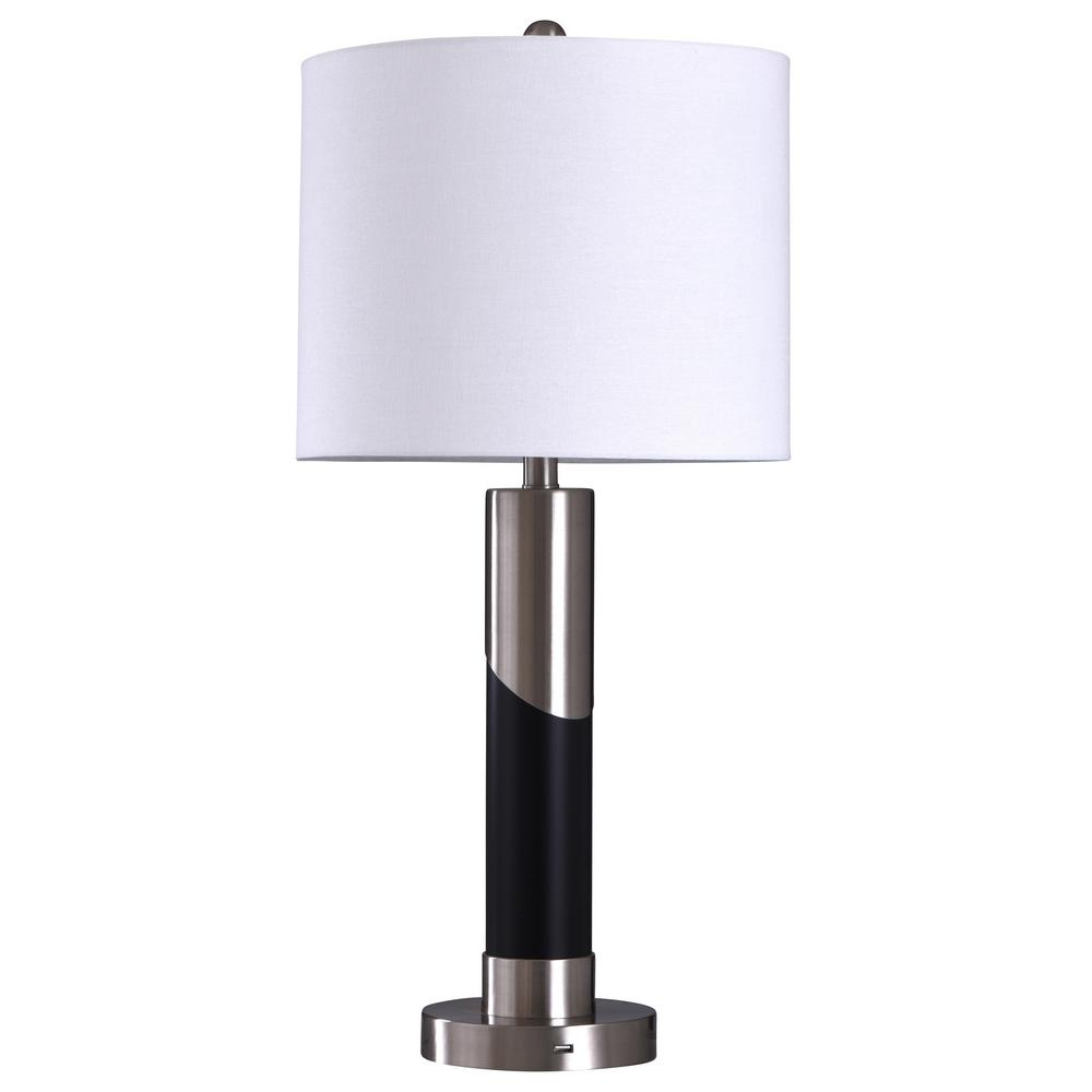 Stylecraft 29 In Black Silver Table Lamp With White Styrene Shade