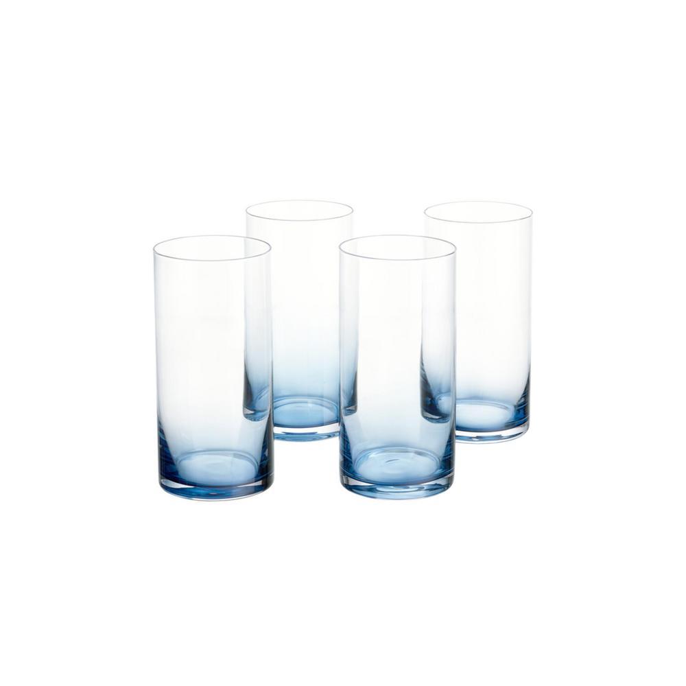 HomeDecoratorsCollection Home Decorators Collection Skylar 19.8 fl. oz. Midnight Blue Ombre Highball Glasses (Set of 4), Black