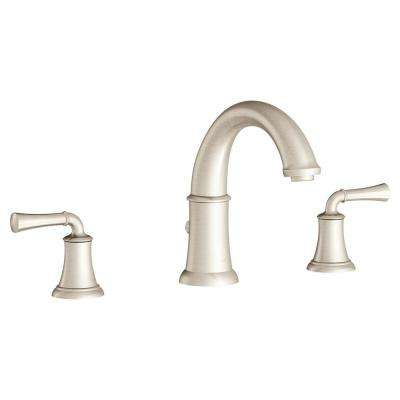 Portsmouth 2-Handle Deck-Mount Roman Tub Faucet for Flash Rough-in Valves in Brushed Nickel