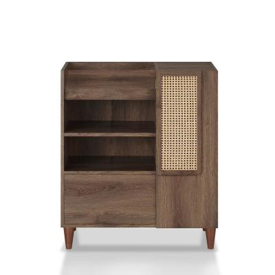Archie Distressed Walnut Accent Storage Cabinet with Panel Doors