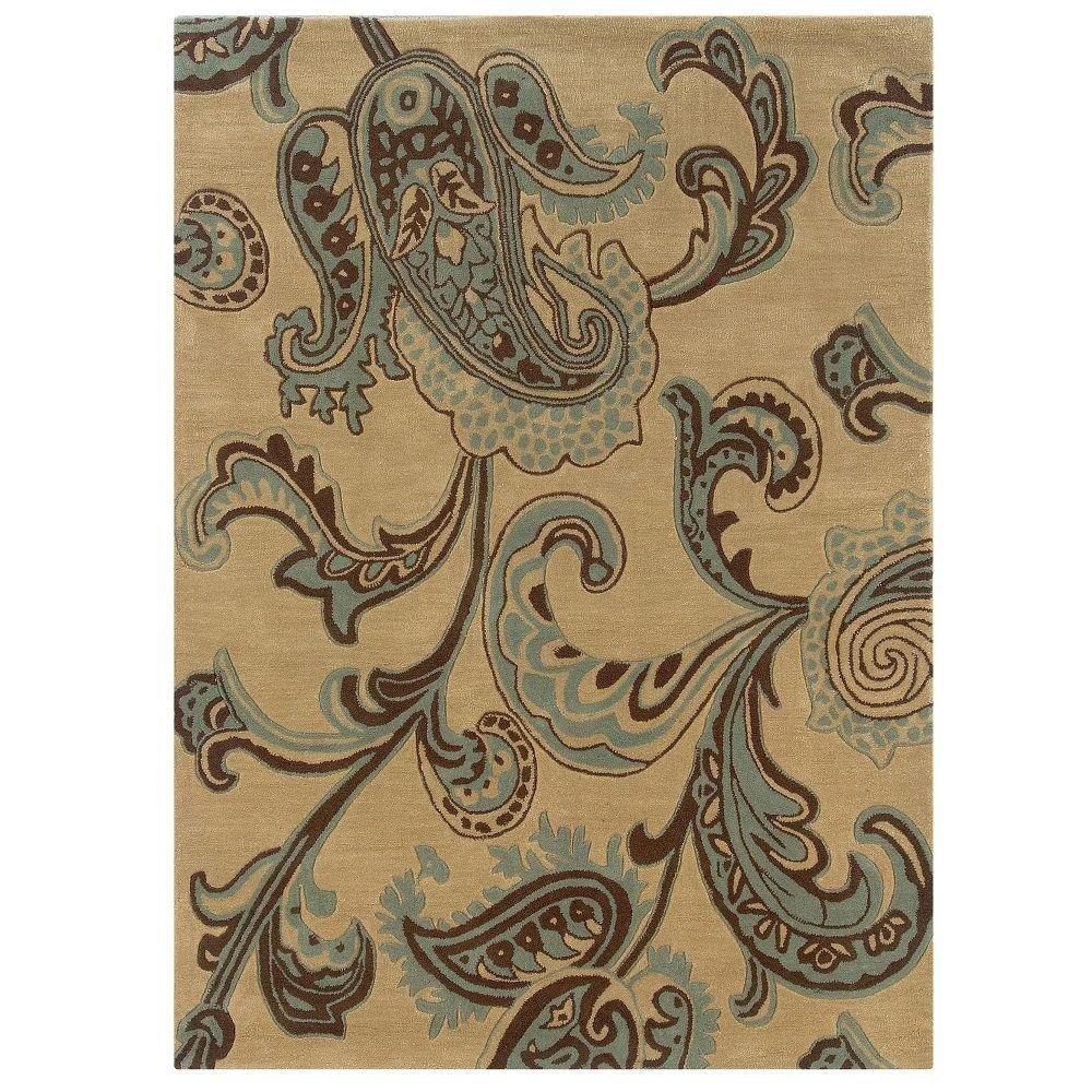 Linon Home Decor Trio Collection Beige and Blue 5 ft. x 7 ft. Indoor Area Rug