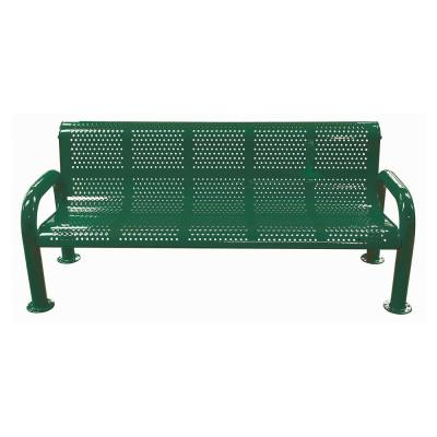 6 ft. Green Metal U-Leg Perforated Roll Form Bench with Back