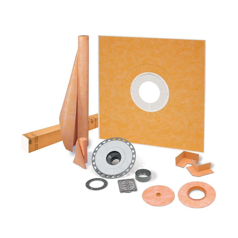 Schluter Kerdi-Shower-Kit 48 in. x 48 in. Shower Kit in PVC with Stainless Steel Drain Grate