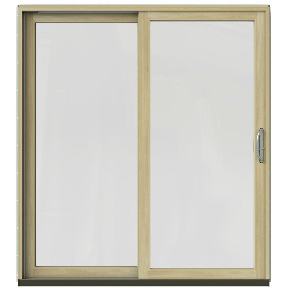 Jeld wen 72 in x 80 in w 2500 contemporary black clad for Wood patio doors home depot