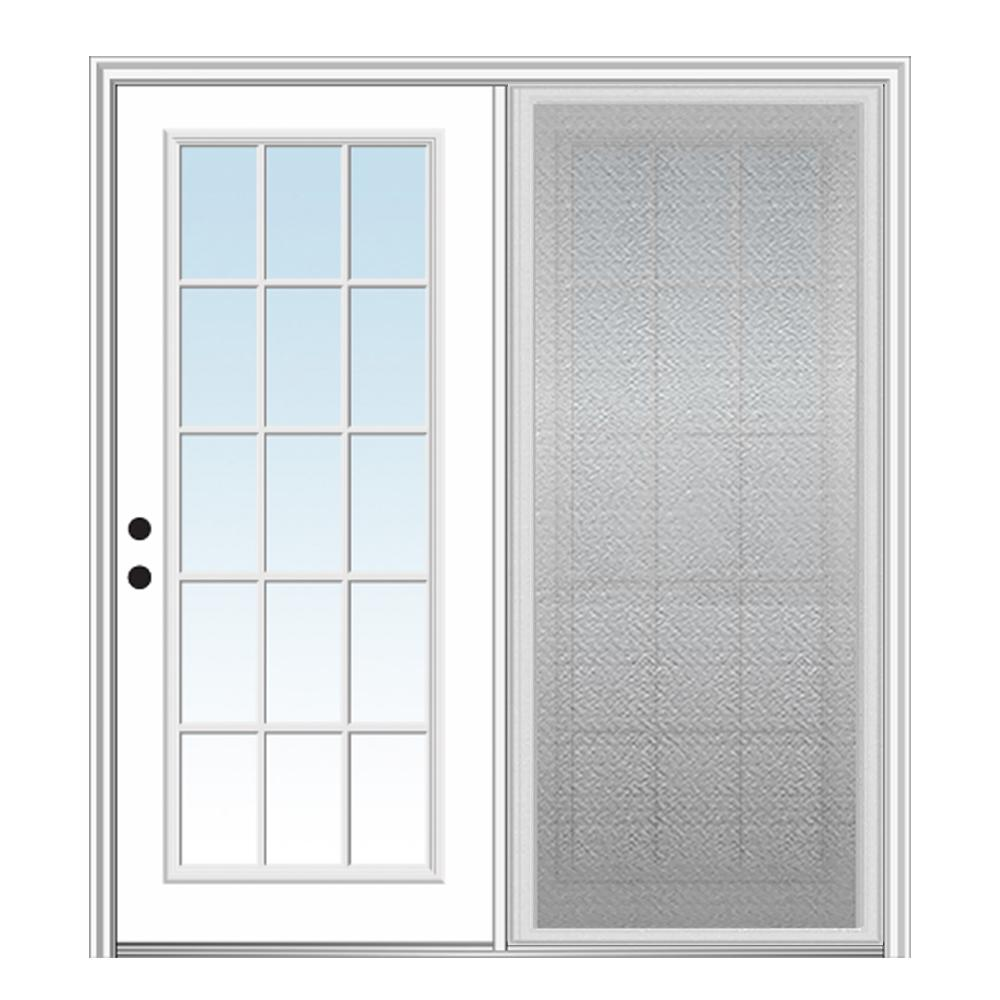 MMI Door 60 in. x 80 in. Primed Fiberglass Prehung Right Hand Inswing Clear Glass 15-Lite Hinged Patio Door with Sliding Screen