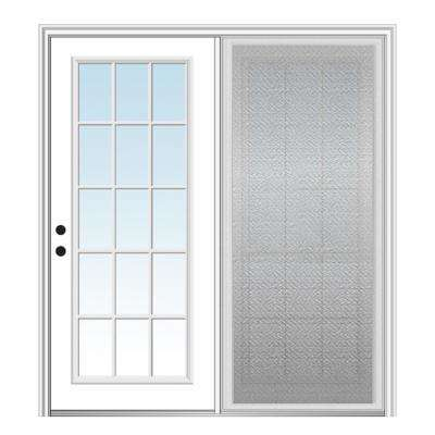 64 in. x 80 in. Primed Fiberglass Prehung Right Hand Inswing Clear Glass 15-Lite Hinged Patio Door with Sliding Screen