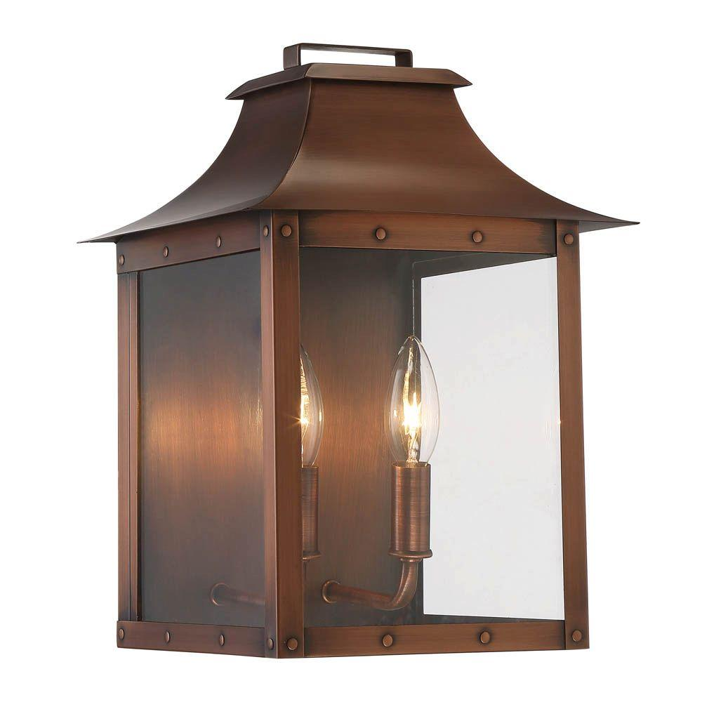 Acclaim Lighting Manchester Collection 2 Light Copper Patina Outdoor Wall Lantern