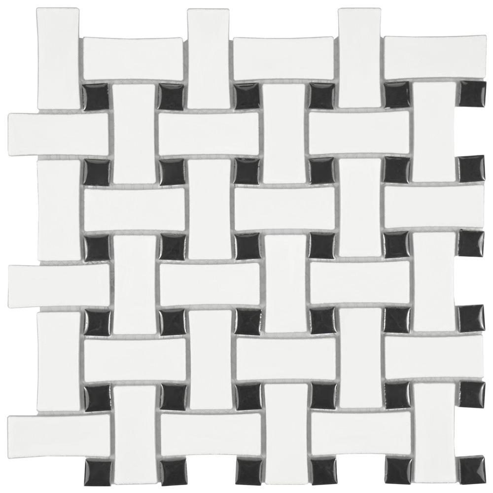 Merola Tile Metro Basket Weave Matte White And Black 10 1 2 In