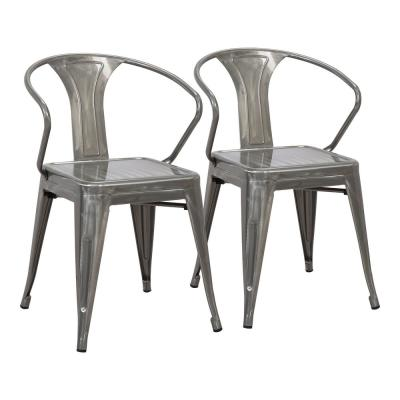 Waco Silver Metal Dining Chair (Set of 2)
