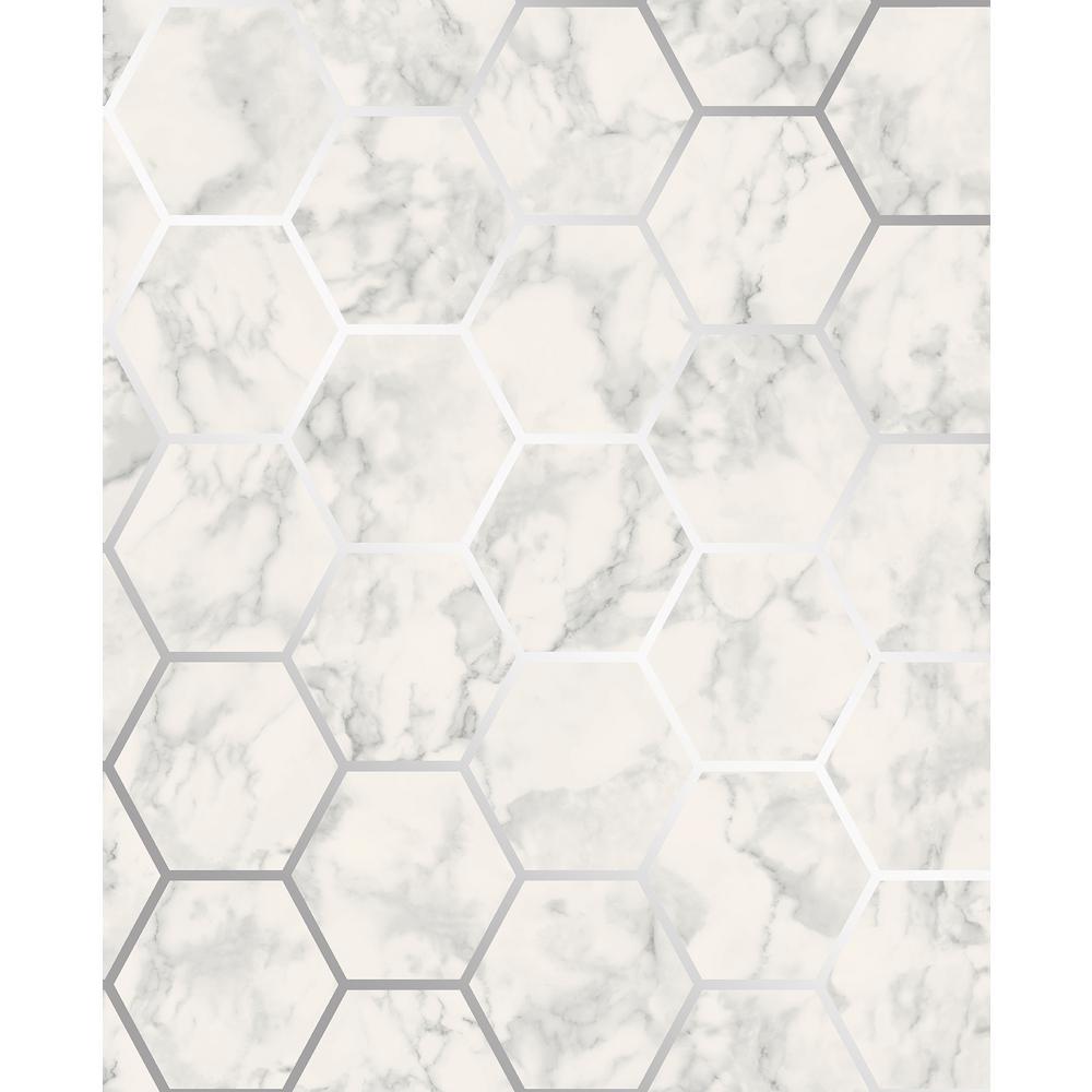 Margaret Off-White Marble Hexagon Wallpaper Sample