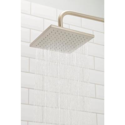 1-Spray 8 in. Single Ceiling MountHigh Pressure Fixed Rain Shower Head in Matte Black