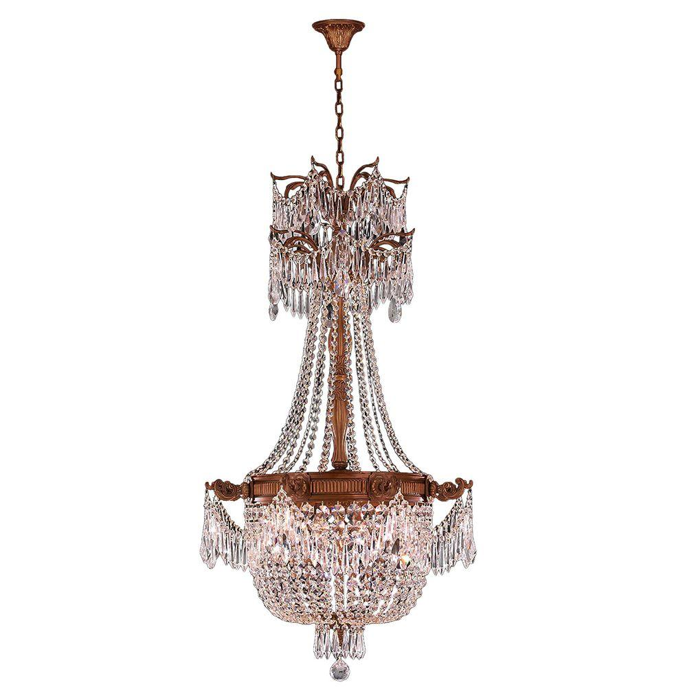 Worldwide Lighting Winchester Collection 4-Light French Gold and Clear Crystal Chandelier