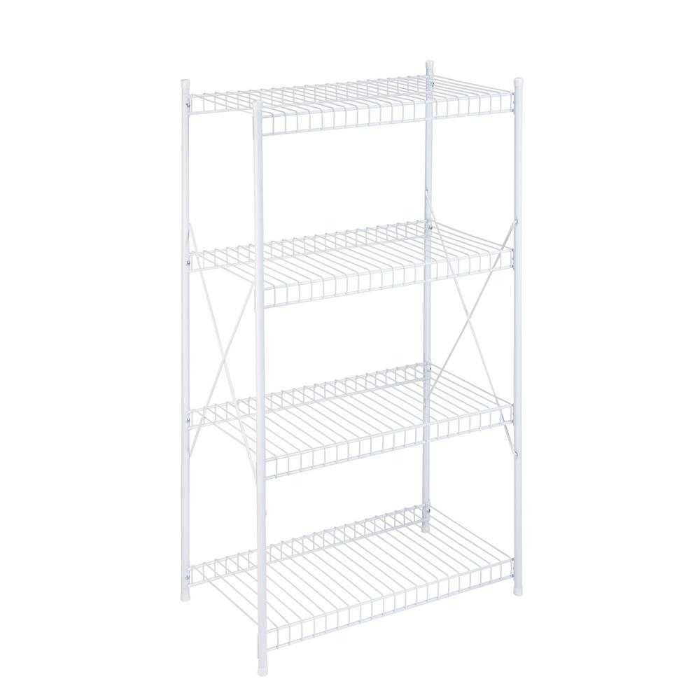 4-Tier Storage Shelf White Wire