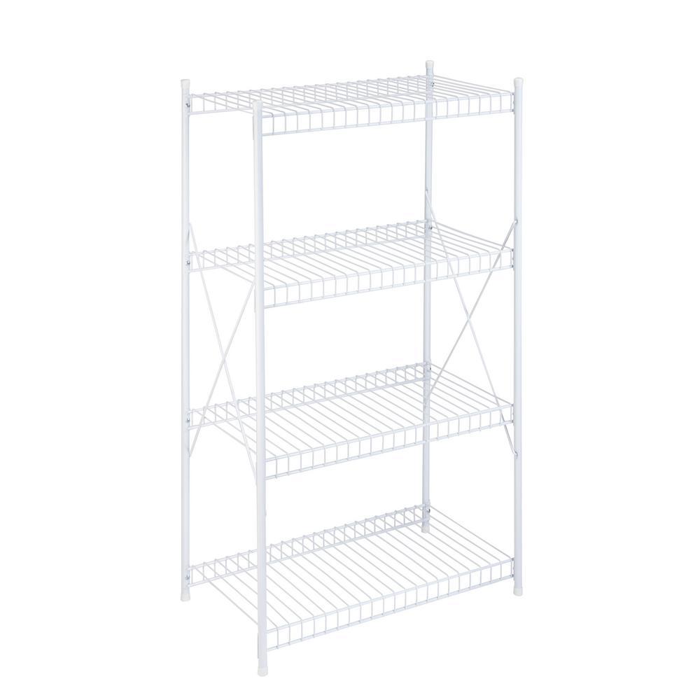 4-Tier Storage Shelf White Wire