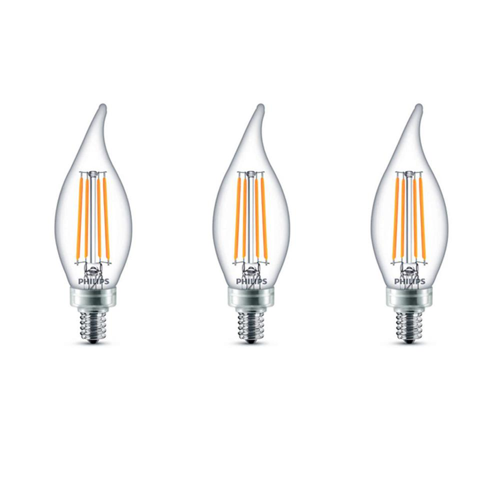 Philips 60-Watt Equivalent B11 Dimmable LED Bent Tip Candle Light Bulb Soft White (3-Pack)