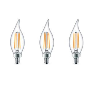 60-Watt Equivalent B11 Dimmable LED Bent Tip Candle Light Bulb Soft White (3