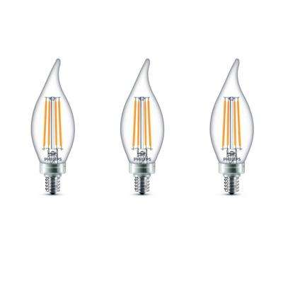 60-Watt Equivalent B11 Dimmable LED Bent Tip Candle Light Bulb Soft White (3-Pack)