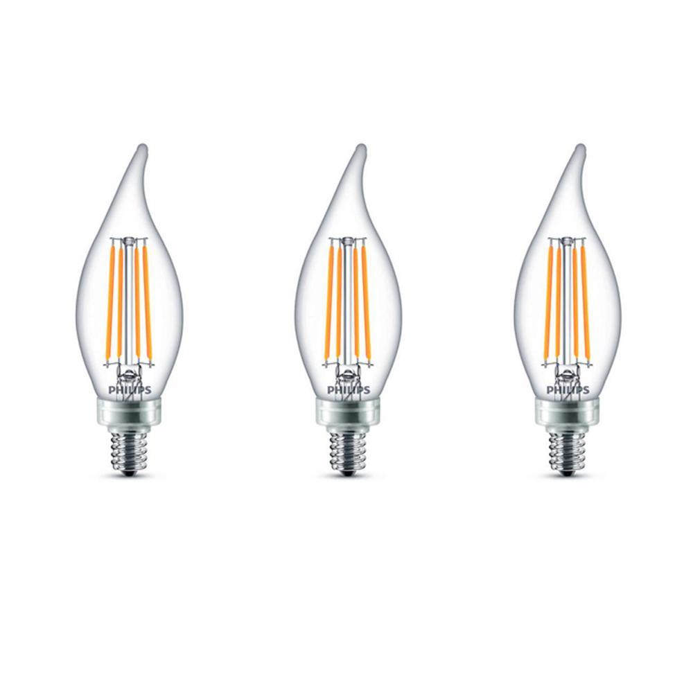 Philips 60-Watt Equivalent B11 Dimmable Edison Glass LED Candle Light Bulb Bent Tip Candelabra Base Soft White (2700K) (3-Pack)