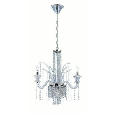 Nava Collection 7-Light Chrome and Ice Blue Chandelier with Crystal Shade