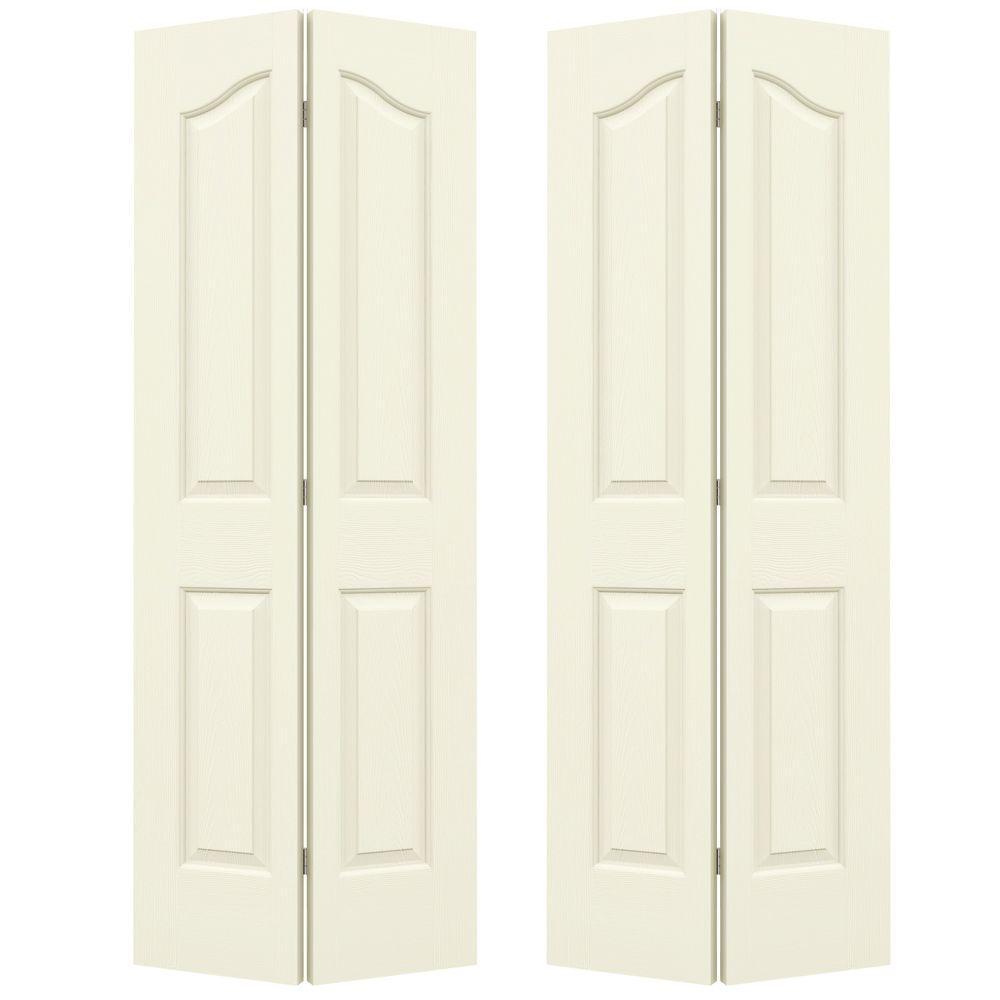 JELD-WEN 72 in. x 80 in. Provincial Vanilla Painted Textured Molded Composite MDF Closet Bi-fold Door