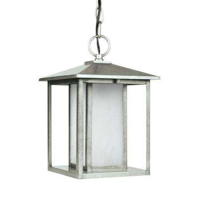 Hunnington Weathered Pewter 1-Light Outdoor Hanging Pendant with LED Bulb
