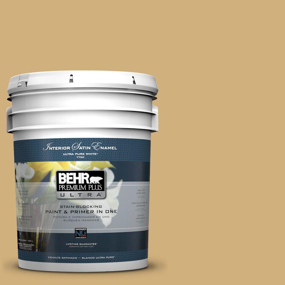 BEHR Premium Plus Ultra 5-gal. #PPU6-15 Romanesque Gold Satin Enamel Interior Paint