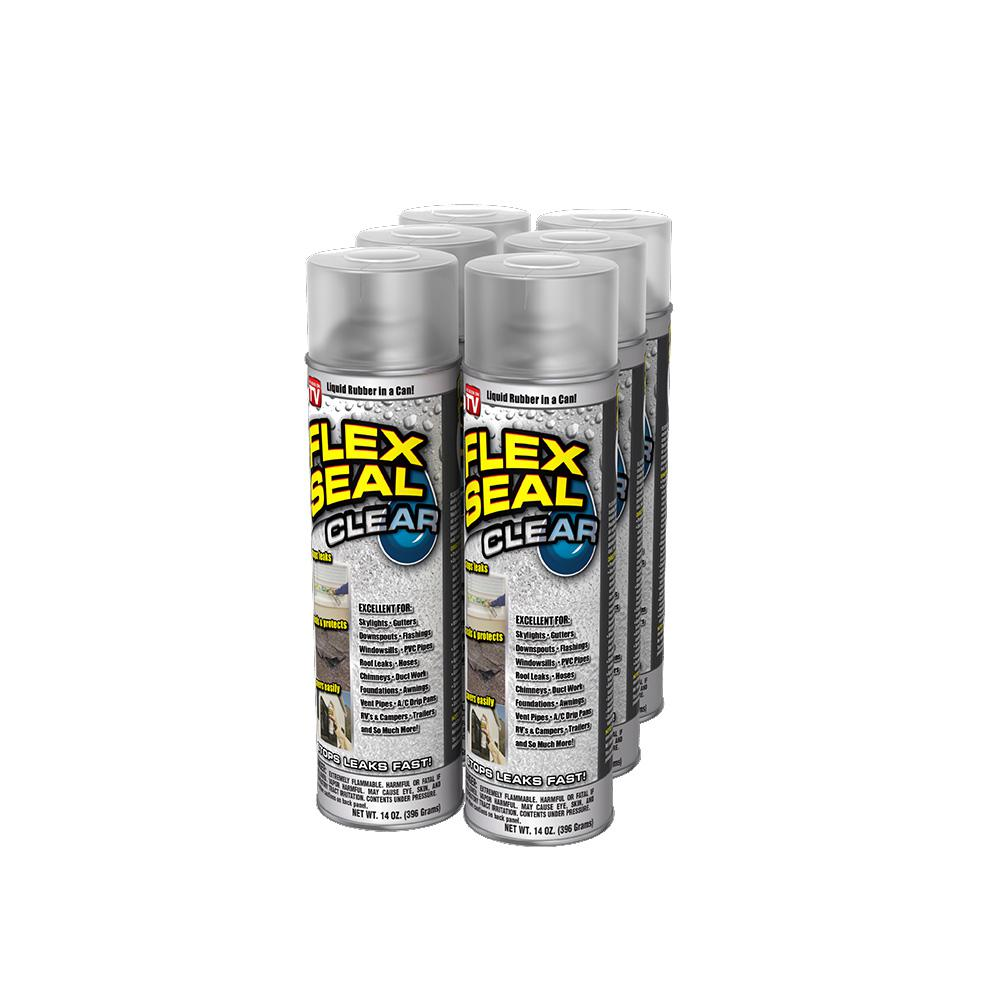 Flex Seal Clear 6-Piece 14 oz  Aerosol Liquid Rubber Sealant Spray Coating  Cans (6-Piece)