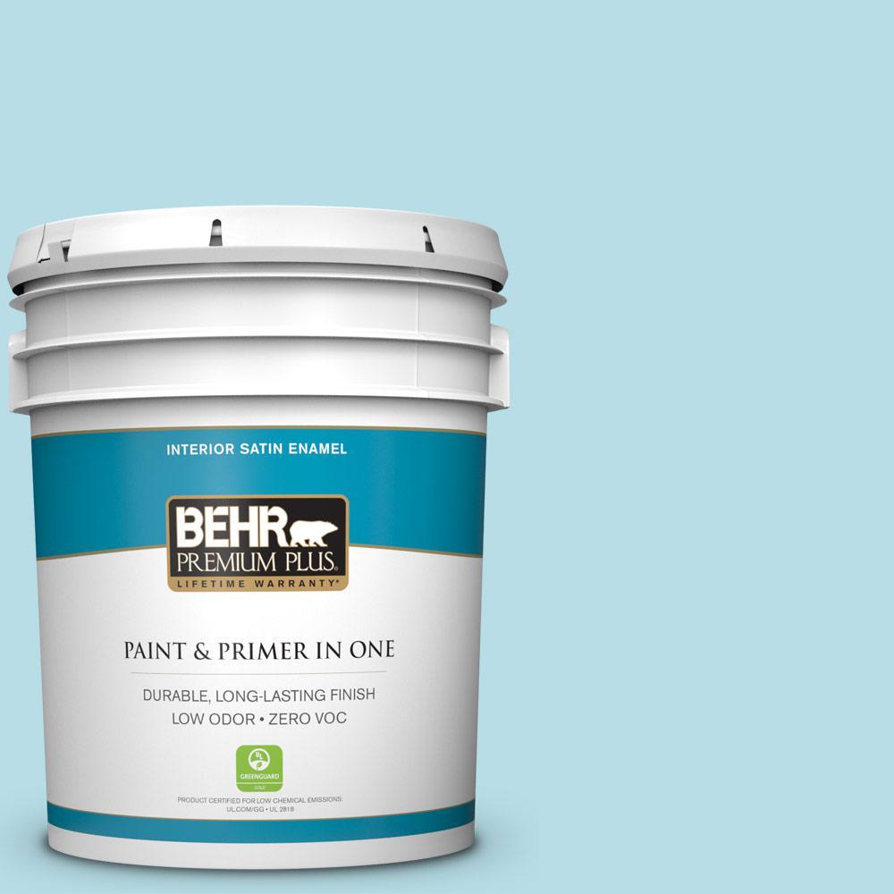 BEHR Premium Plus 5 gal. #M470-2 Basin Blue Satin Enamel Zero VOC Interior Paint and Primer in One