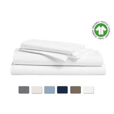 4-Piece White Solid 300 Thread Count Cotton Queen Sheet Set