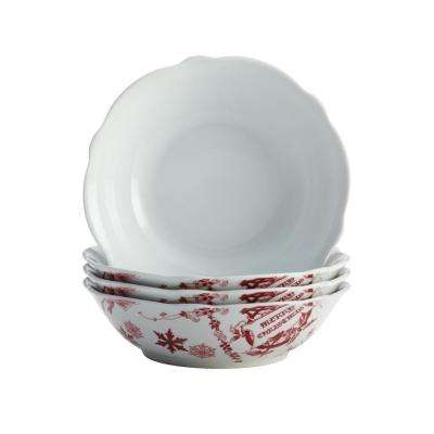 Dinnerware Yuletide Garland 4-Piece Porcelain Stoneware Fluted Cereal Bowl Set in Print