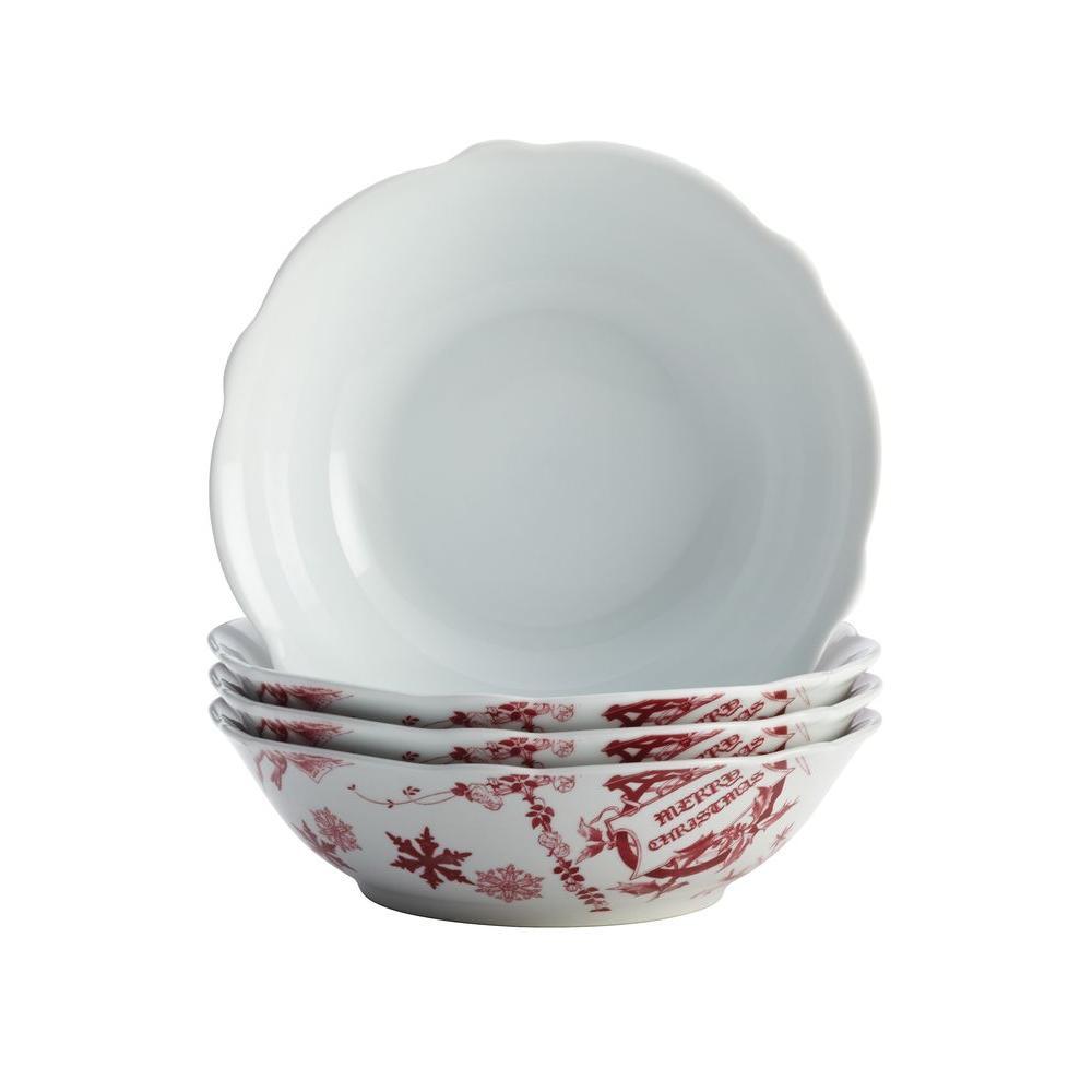 Dinnerware Yuletide Garland 4-Piece Porcelain Stoneware Fluted Cereal Bowl Set in Print