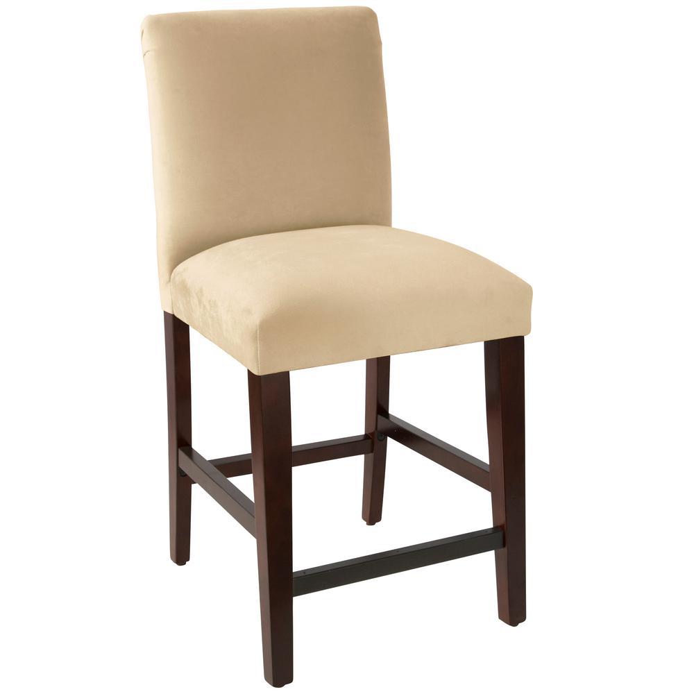 Velvet Buckwheat Counter stool with Diamond Tufted Back