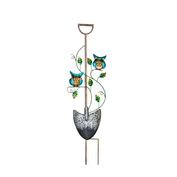 36 in. Metal Garden Shovel Yard Stake with Owls