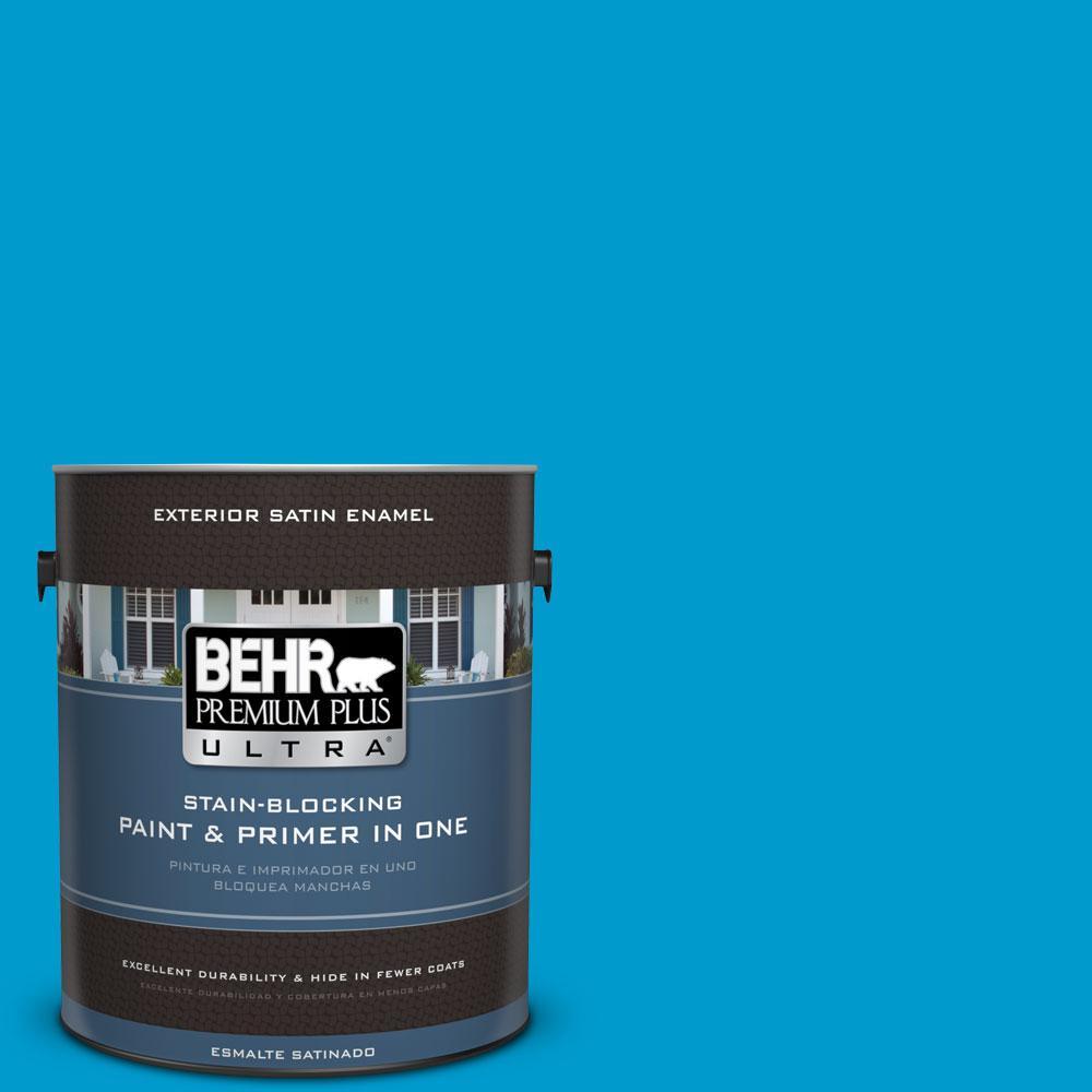 BEHR Premium Plus Ultra 1-gal. #550B-6 Isle of Capri Satin Enamel Exterior Paint